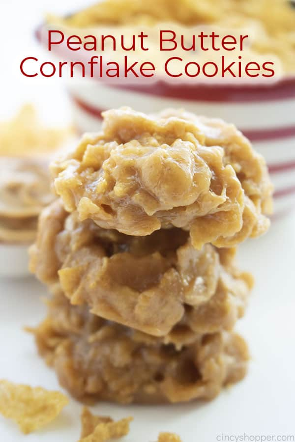 Text on image Peanut Butter Cornflake Cookies