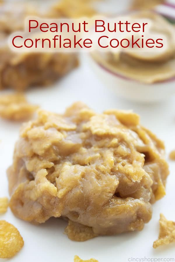 Text on image No Bake Cornflake Peanut Butter Cookies