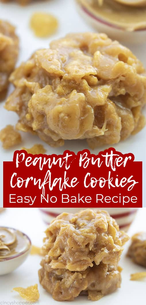 Long pin collage Peanut Butter Cornflake Cookies Easy No Bake Recipe