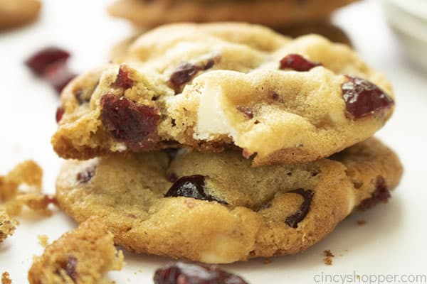 White Chocolate Cranberry Cookies with bite