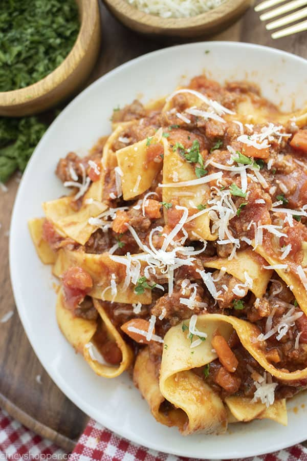 Overhead of Bolognese Sauce over papardelle