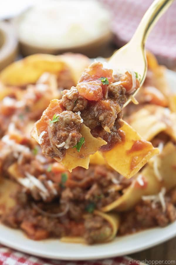 Bolognese Sauce with pasta on a fork