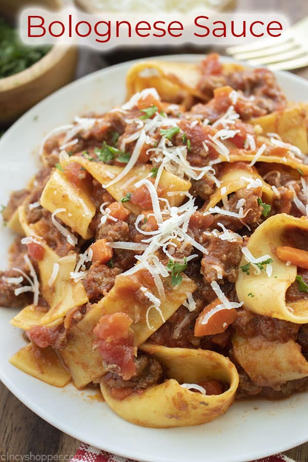 Text on image Bolognese Sauce