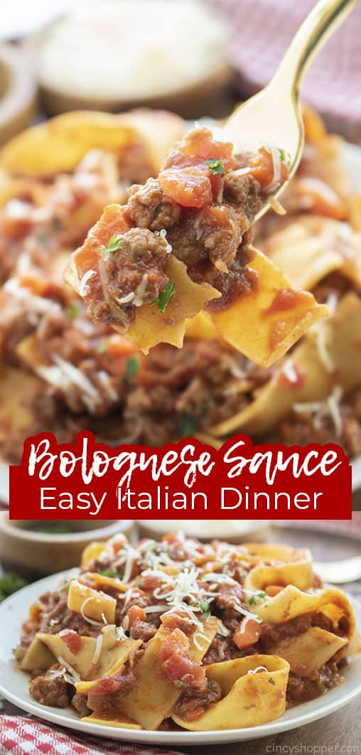 Long pin collage with text Bolognese Sauce Easy Italian Dinner
