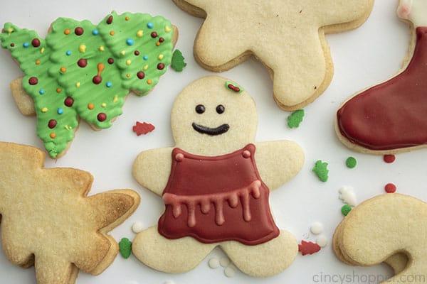 Dekorierte Weihnachtszuckerplätzchen