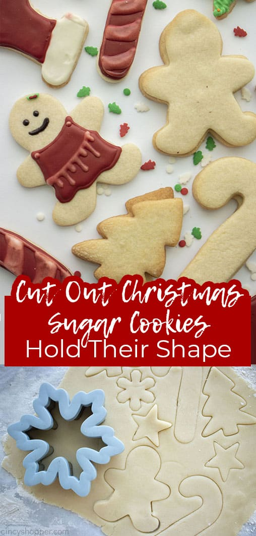 Long pin collage with banner text Cut Out Christmas Sugar Cookies Hold their Shape