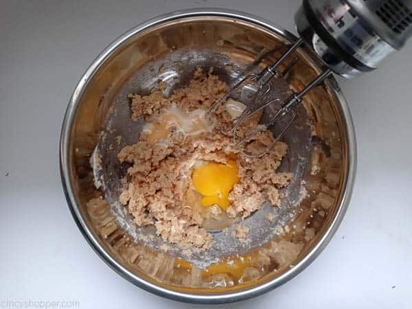 Egg, vanilla and eggnog added to mixture