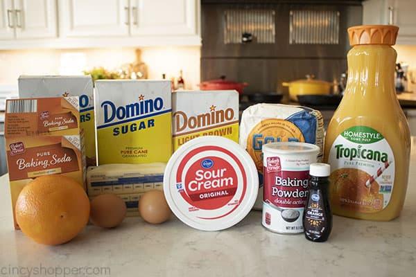 Ingredients for Orange Glaze Cookies