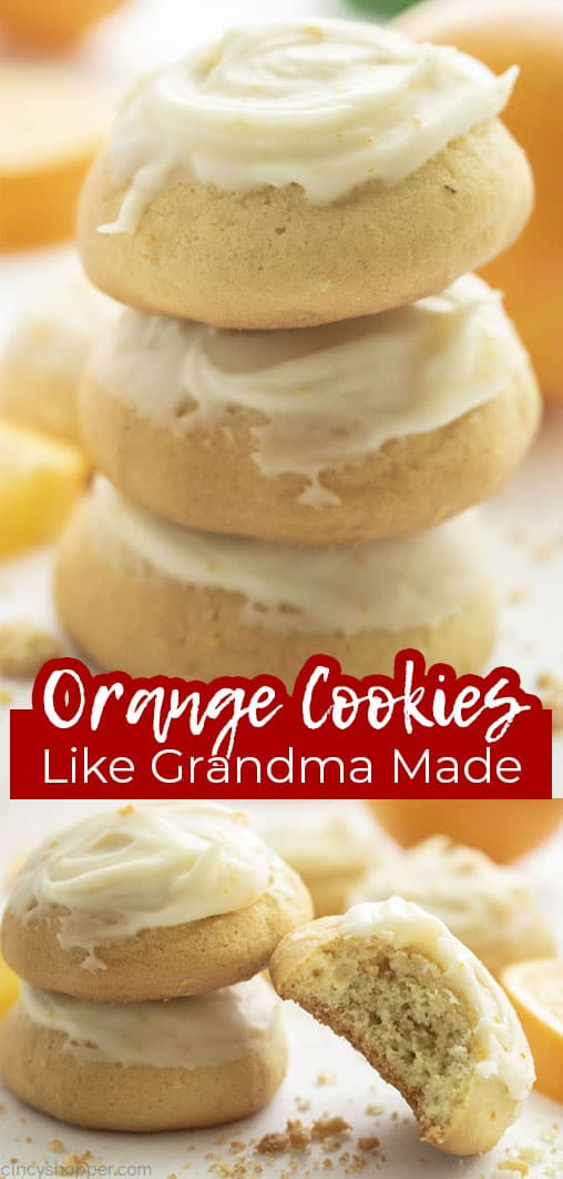 Long pin collage with text banner Orange Cookies Like Grandma Made