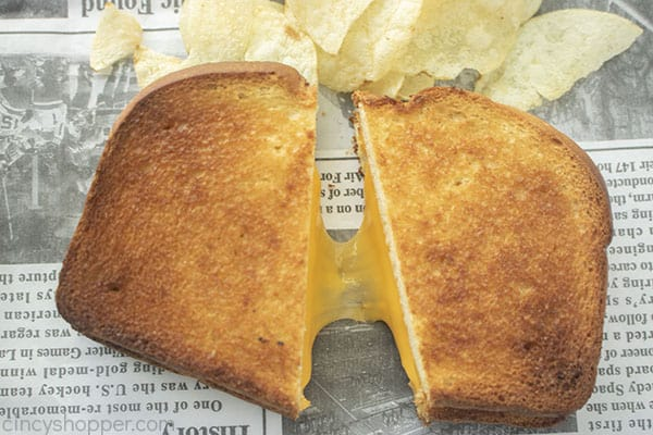 Cheesy Grilled Cheese cut in half