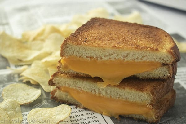 The Best Grilled Cheese sandwich cut
