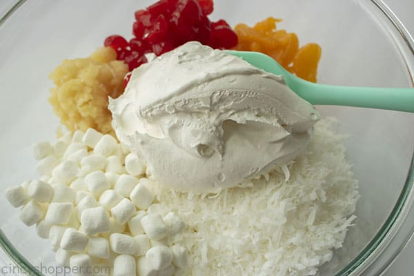 Cool Whip added to ambrosia ingredients