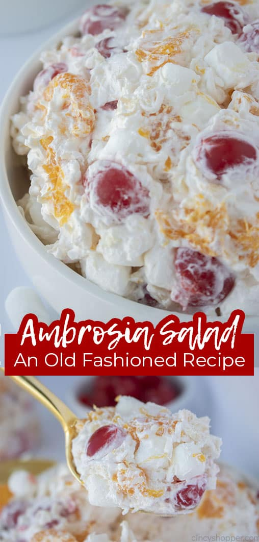 Long pin collage with banner text Ambrosia Salad An Old Fashioned Recipe