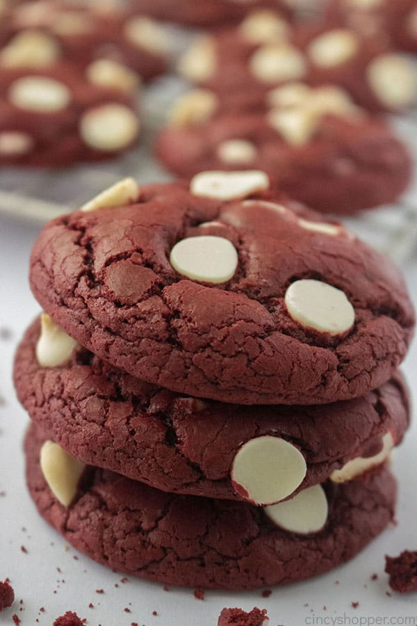 Stack of Cake Mix Cookies with chocolate chips