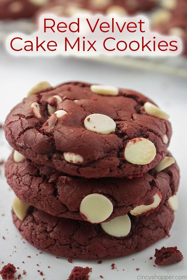 Text on image Red Velvet Cake Mix Cookies