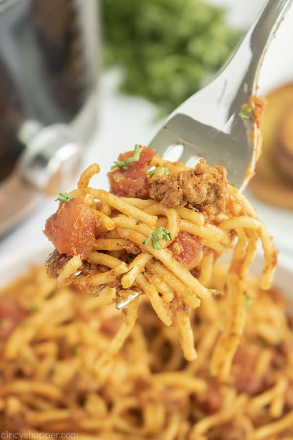 Ground Beef Spaghetti made in Instant Pot on a fork