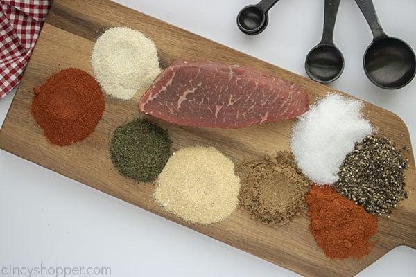 Steak spices on a cutting board