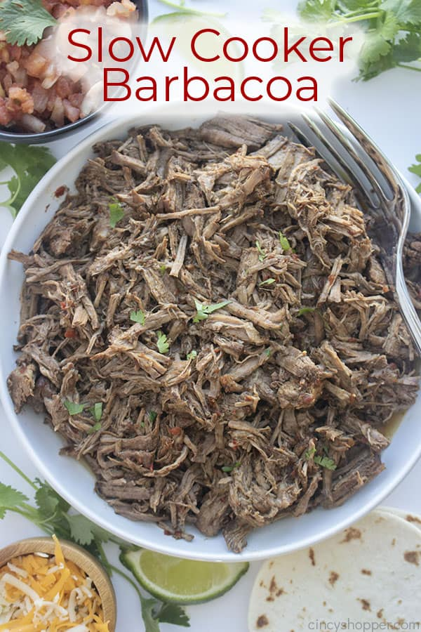 Text on image Slow Cooker Barbacoa