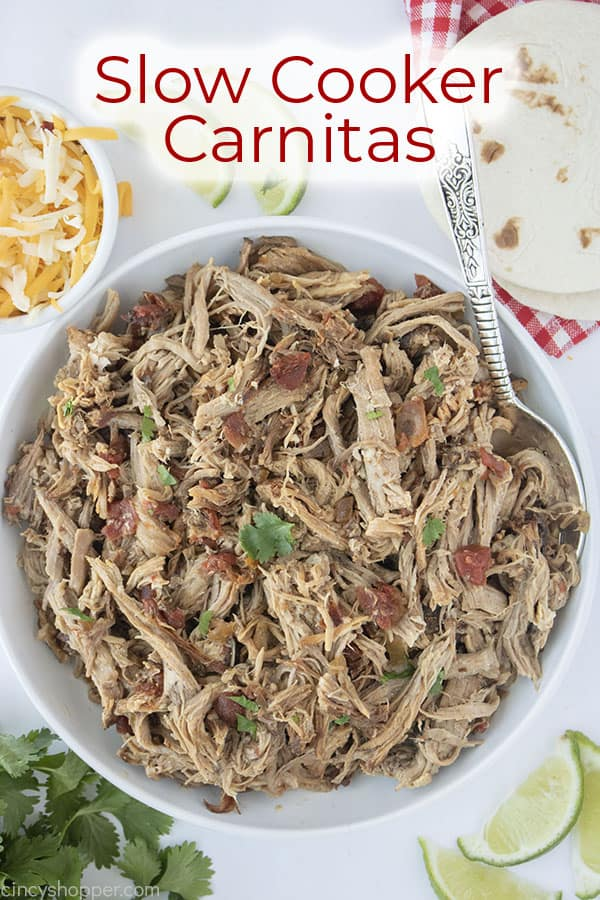Text on image Slow Cooker Carnitas