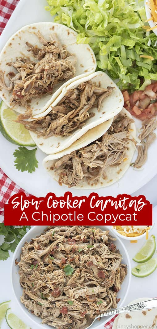 Long pin collage with text Slow Cooker Carnitas A Chipotle CopyCat