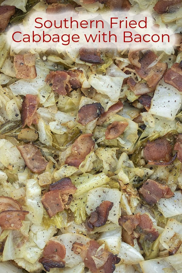 Text on image Southern Fried Cabbage