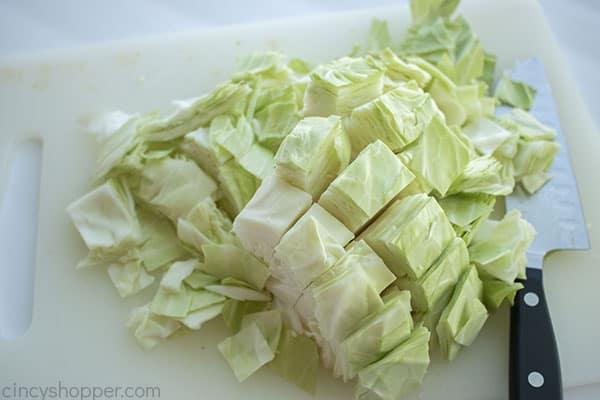 Cut cabbage on a cutting board