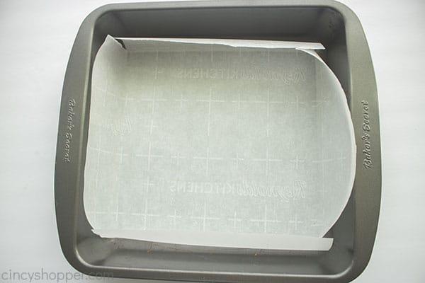 Parchment lined 8X8 pan