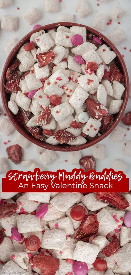 Long pin collage with text banner Strawberry Muddy Buddies An Easy Valentine Snack