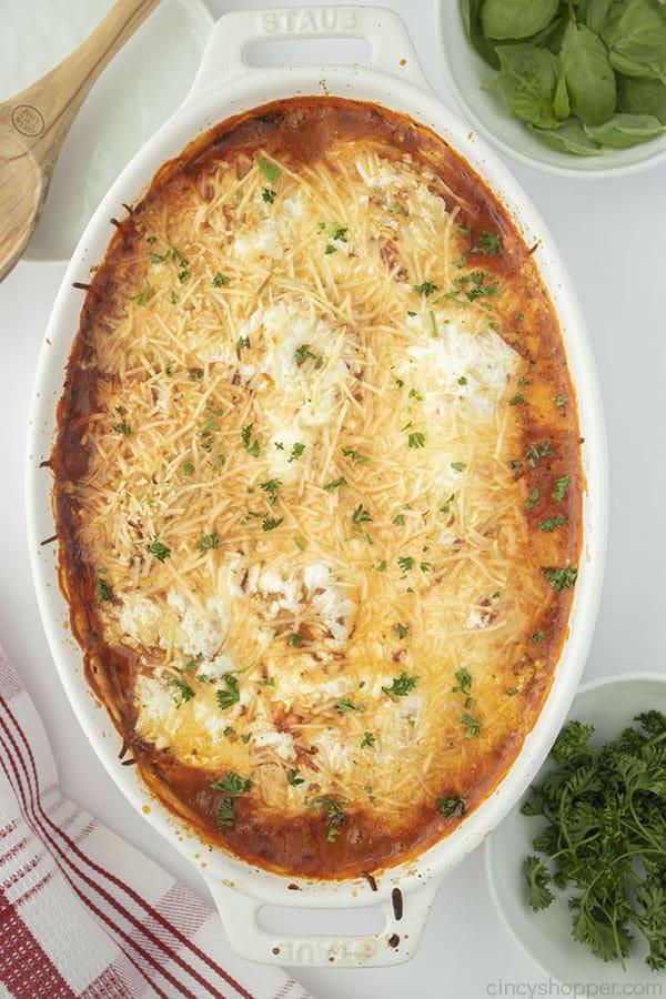 Baked Ravioli in a casserole dish