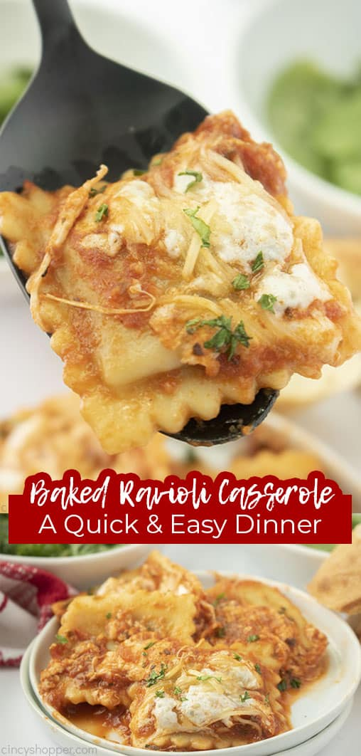 Long pin collage with text Baked Ravioli Casserole A Quick & Easy Dinner
