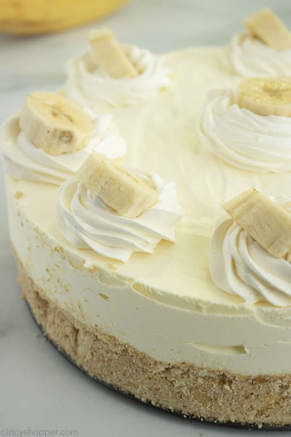 No Bake Banana Cream Cheesecake whole