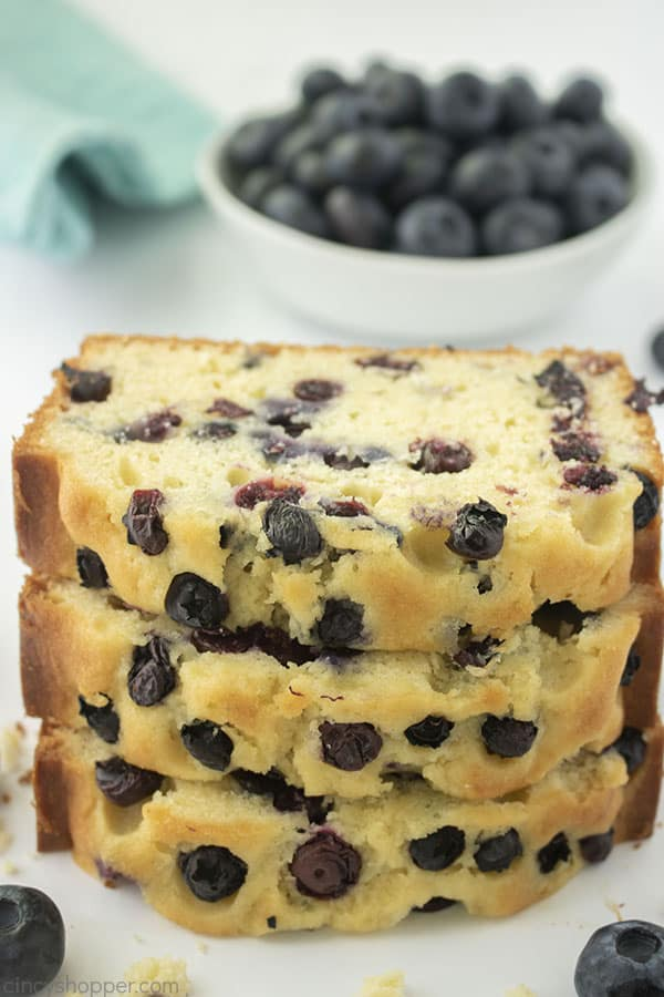 Best Blueberry Bread stack of slices
