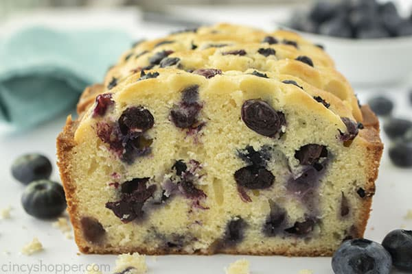 Closeup of easy blueberry bread