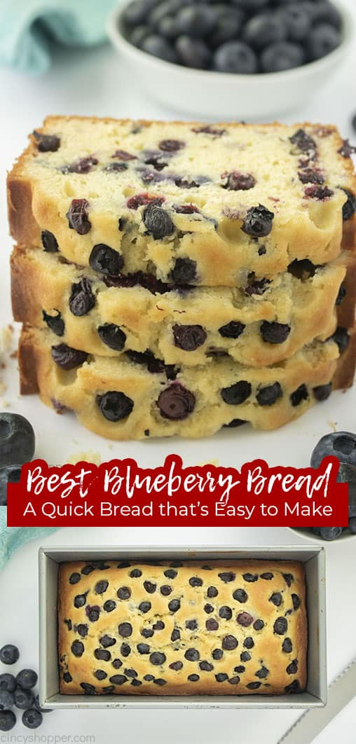 Long Pin collage with text Best Blueberry Bread A Quick Bread that's Easy to Make