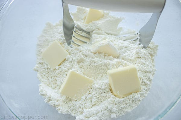 Cut butter slices added to dry ingredients
