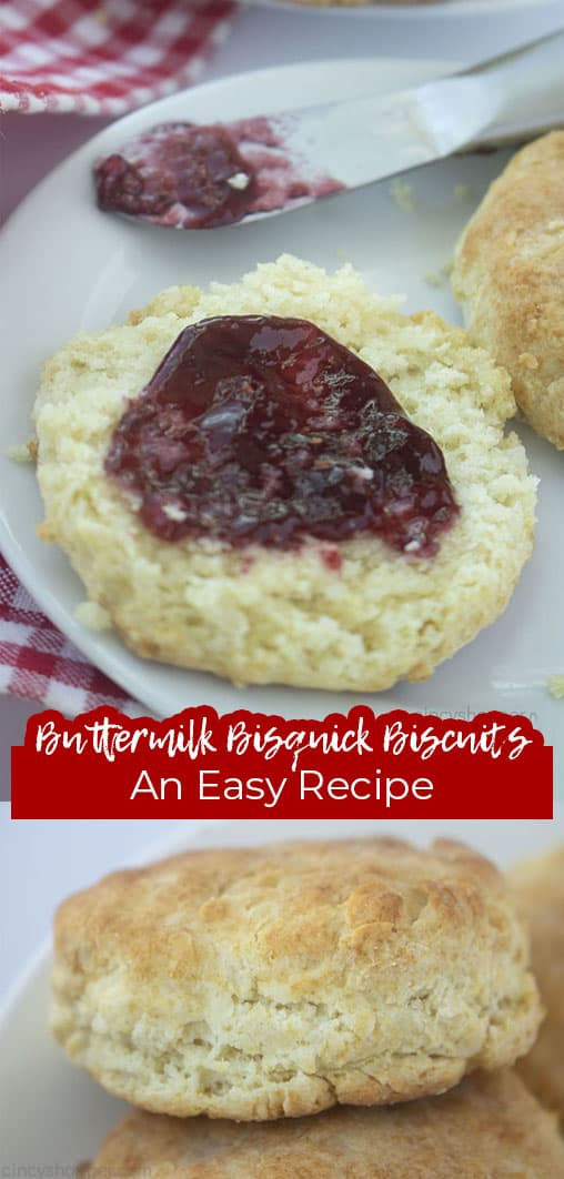 Long pin collage with text Buttermilk Bisquick Biscuits An Easy Recipe