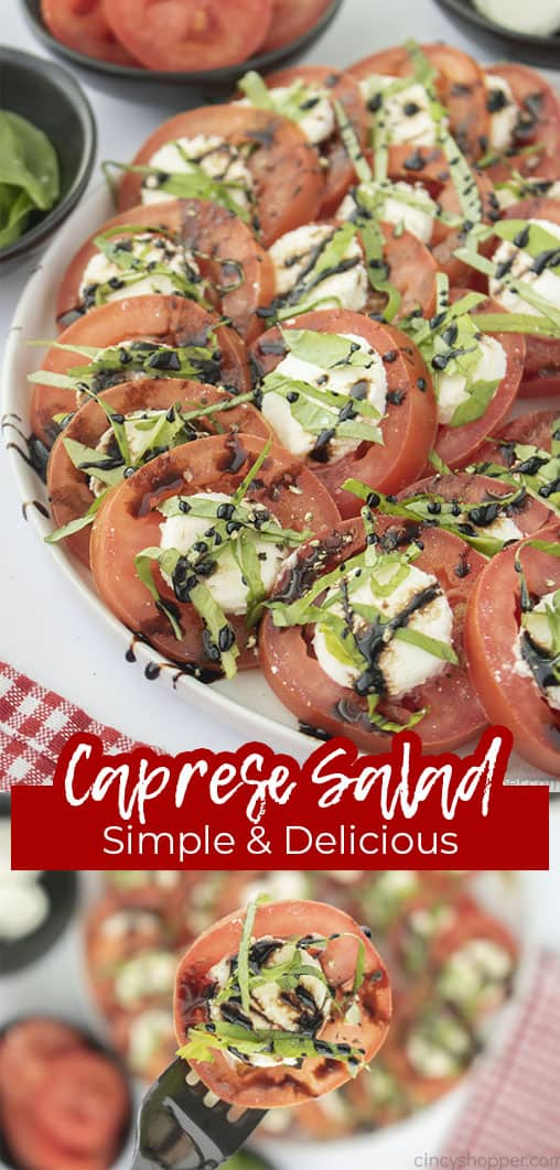 Long pin collage with text Caprese Salad Simple & Delicious