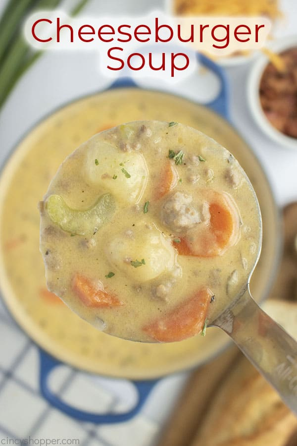 Text on image Cheeseburger Soup