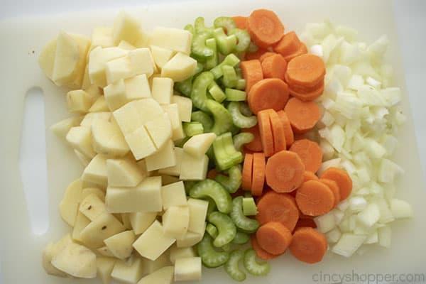Diced veggies for Burger Soup