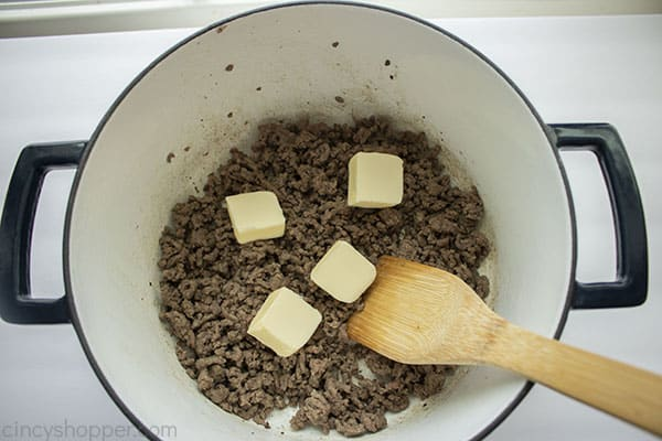 Butter added to drained ground beef