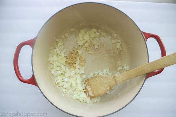 Garlic added to nions