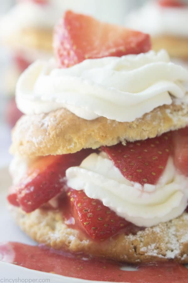 Closeup of strawberry shortcake with biscuits
