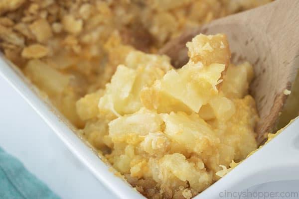Closeup on pineapple casserole