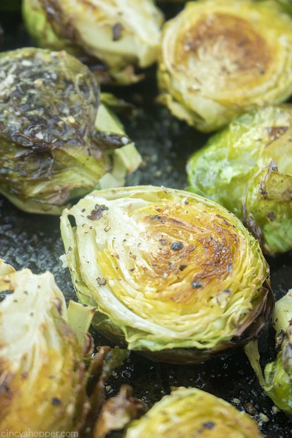 Brussel Sprouts oven roasted on a sheet pan