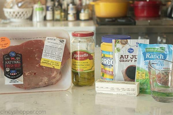 Ingredients to make Pepperoncini Roast