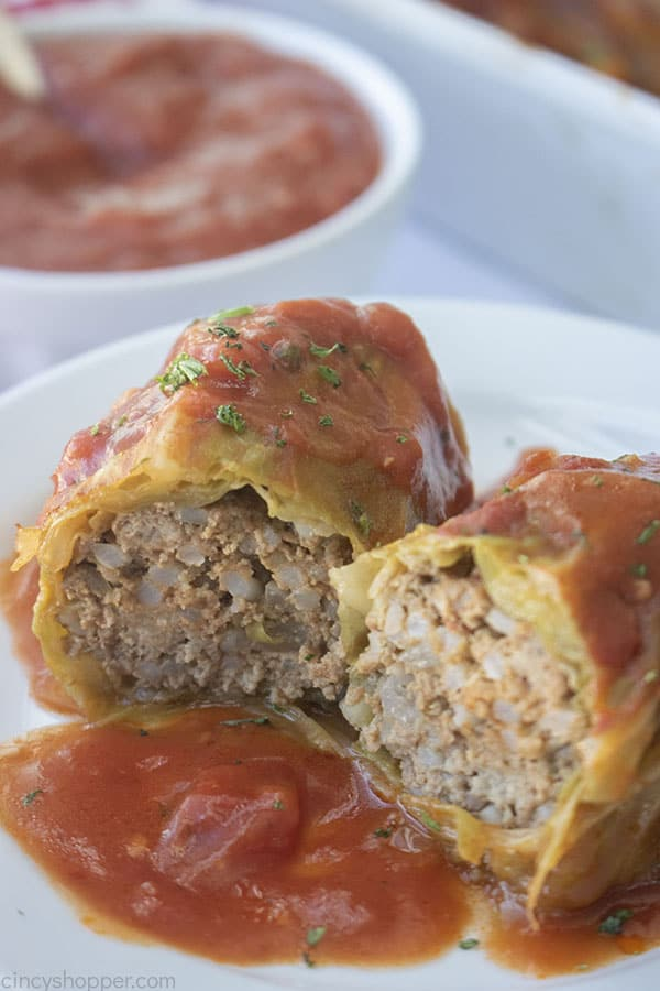 Stuffed Cabbage rolls on a plate with sauce