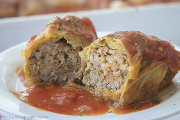 Opened Stuffed Cabbage on a plate