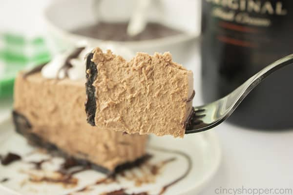 Bailey's Chocolate Cheesecake for St. Patrick's Day on fork