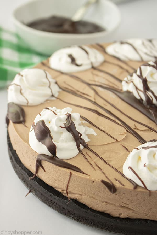 Bailey's No Bake Cheesecake with drizzle