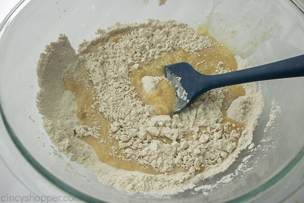 Wet ingredients added to dry